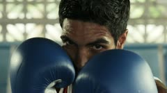 Young caucasian athlete boxing in fitness club Stock Footage