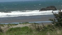 Oregon Coast in Spring with Wind medium Rock - stock footage