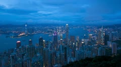 Hong Kong, nightscape T/L - stock footage