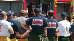 Fire fighter firemen brief for wildfire work P HD 0633 Stock Footage