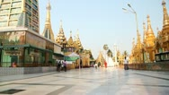 Visitors in Shwedagon Pagoda Stock Footage