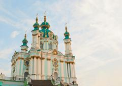 st. andrew church in kiev, ukraine in the morning - stock photo