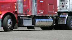 Big rig truck, low shot Stock Footage