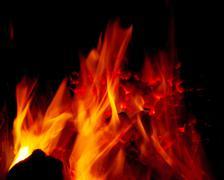 Burning coal in a furnace Stock Photos