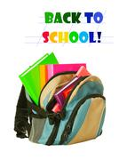 Backpack with colorful books Stock Photos
