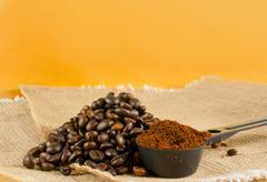 heap of the roasted coffee beans - stock photo