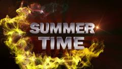 SUMMER TIME Text in Particle (Double Version) Red - HD1080 Stock Footage