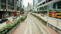 Hong Kong, trams POV T/L Stock Footage