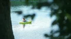 Boating kayak canoe on the lake Stock Footage