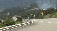 Oregon Coast Road with Fire - stock footage