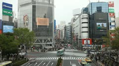 Time Lapse of Crowds in Hachiko Crossing, Day Traffic in Shibuya, Tokyo, Japan - stock footage