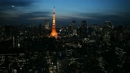 Stock Video Footage of Illuminated Aerial View Tokyo Tower Japan, Zeppelin at dusk over Tokyo Skyline