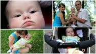 Montage of happy family: mother, father and baby Stock Footage