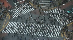 Anonymous People Pedestrian Cross Aerial View Tokyo Busy Street Shibuya Crossing Stock Footage