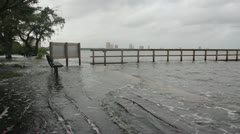 Flooded Park & Dock Stock Footage