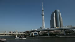 Tokyo Skytree in Japan, The Tallest Tower in the World, Highway in Sumida Stock Footage