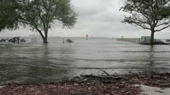 Flooded Parking Lot & Boat Ramp Stock Footage