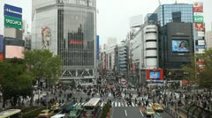 Crowded Entertainment Area Popular Shopping Street Shibuya Tokyo People Crossing Stock Footage