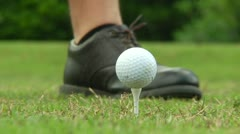 Golf ball Tee Off (close up) Stock Footage
