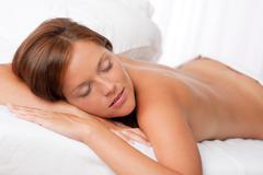 white lounge - woman in spa treatment - stock photo