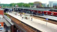 10700 train station tilt shift time lapse Stock Footage