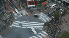 Shopping Busy Street Tokyo Shibuya Crossing Time Lapse Panoramic Aerial View Day Stock Footage