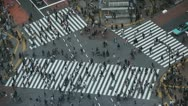 Stock Video Footage of Aerial View of Shibuya Crossing, Tokyo, Japan, Day Traffic Crowds in Hachiko