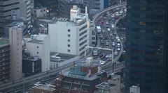 Time Lapse Aerial View Skyline of Highway Cars Traffic Jam, Congestion in Tokyo Stock Footage