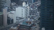 Stock Video Footage of Time Lapse Aerial View Skyline of Highway Cars Traffic Jam, Congestion in Tokyo