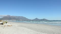 Table Mountain from Bloubergstrand Stock Footage