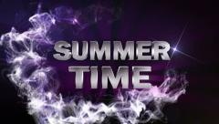 SUMMER TIME Text in Particle (Double Version) Blue - HD1080 Stock Footage