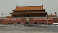 Stock Video Footage of Car Traffic Busy Tiananmen Square Beijing China Gate Forbidden City Time Lapse