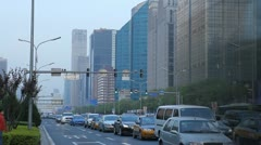 Time Lapse of Huge Traffic Jam and Air Pollution in Beijing CBD, China Stock Footage