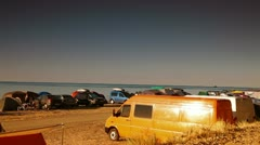 Camping Site by Sea Stock Footage