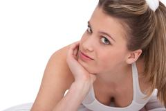 fitness - young sportive woman on white - stock photo