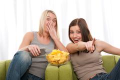 Students series - two teenage girl watching television Stock Photos