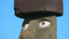 Easter Island Ahu Ko Te Riku moai close up eyes zoom out to full 7a Stock Footage