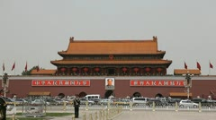 Air Pollution Traffic Jam, Center Beijing China Forbidden City, Tiananmen Square - stock footage