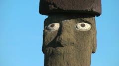 Easter Island Ahu Ko Te Riku moai close up eyes zoom out 8a Stock Footage