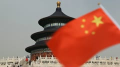 Chinese Flag, Tiantan, The Temple of Heaven in Beijing, China Stock Footage