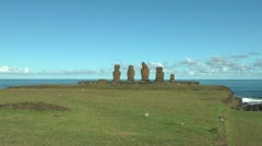 Easter Island Ahu Vai Ure grassy bluff zoom in 10 Stock Footage