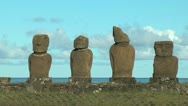 Easter Island Ahu Vai Ure varied group moai 10a Stock Footage