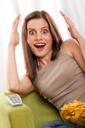 students series - young brown hair woman surprised - stock photo