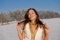 sexy brunette in winter outfit - stock photo