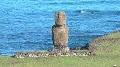 Easter Island Ahu Tahai zoom out from moai 12b Stock Footage