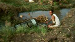 Egyptian Folks at Work Farmer Water Irrigation  - Vintage Super 8mm Film Stock Footage