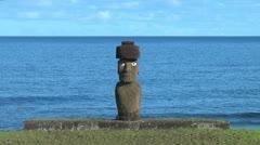 Rapa Nui Tahai  Ahu Ko Te Riku with the sea Stock Footage