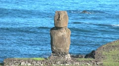 Rapa Nui Tahai against the sea Stock Footage