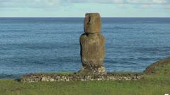 Easter Island Ahu Tahai against sea 5a Stock Footage