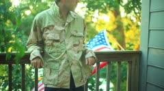 Iraq soldier army vet veteran US USA 4th july Stock Footage